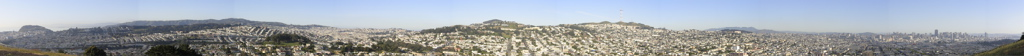 A panoramic view of San Francisco's hills, taken from the top of Bernal Hill